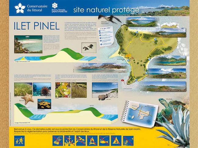 Les touristes découvrent l'espace protégé de Pinel grâce à ce panneau
