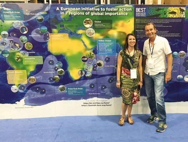 Carole Martinez, coordinatrice du programme Best IUCN international et Romain Renoux, coordinateur caraïbe du programme Carole Martinez, senior coordinator of the IUCN regional Seas and EU Overseas Program and Romain Renoux, Caribbean coordinator of the program.