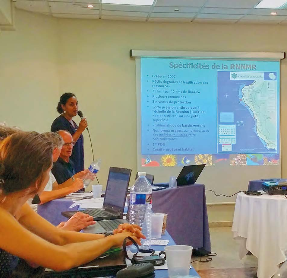 Karine Pothin (standing up), director of the Réserve marine de La Réunion, is the new President of the Protected Marine Areas Forum.
