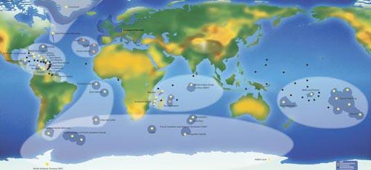 Les 34 territoires européens de l'outre-mer dans le monde The 34 European overseas territories in the world