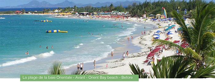 La plage de la baie Orientale - Avant - Orient Bay beach - Before
