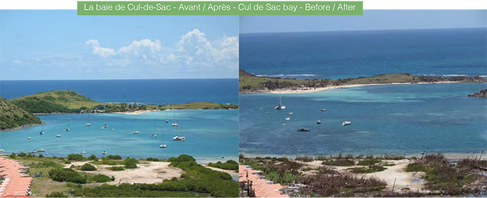 La baie de Cul-de-Sac - Avant / Après - Cul de Sac bay - Before / After