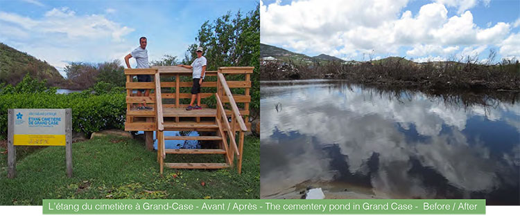 L'étang du cimetière à Grand-Case - Avant / Après - The cementery pond in Grand Case - Before / After