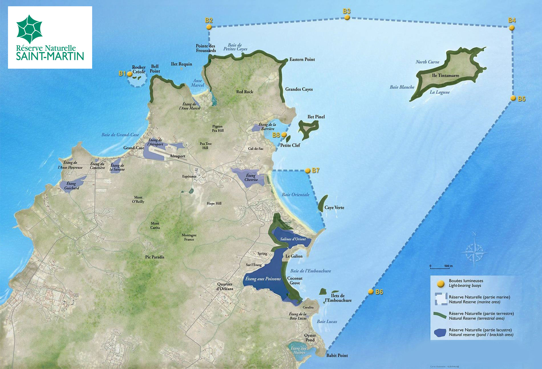 Carte de la  Réserve Naturelle Nationale de Saint-Martin
