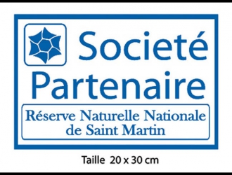 This sticker identifies the partners of the Réserve Naturelle