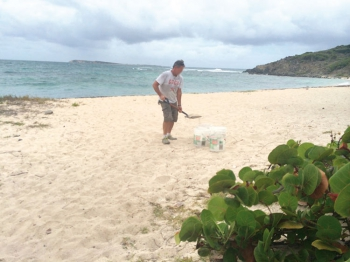 Sand stolen from Grandes Cayes beach